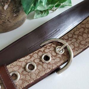 Coach logo belt brown tan L canvas genuine leather
